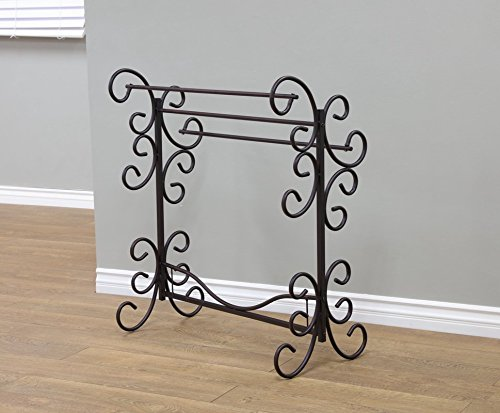 Metal Scroll Quilt Rack Elegan and Stylish in Black Color Made in USA Made of Tubular Steel Solid and Sturdy by eCom Fortune