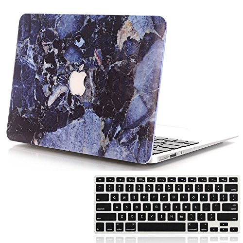 Lykoko Marble Design Plastic Hard Case with Keyboard Cover for MacBook Air 13 Inch (Models: A1369 and A1466) (Deep Blue)