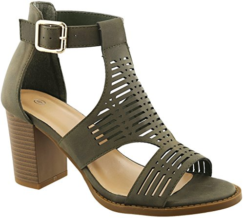 BDshoes Gayle Best Work Cage Caged Strappy High Heel Platform Open Toe Buckle Flat Casual Sexy Formal Party Sandal for Women Ladies Teens (Size 8.5, Olive Heel) -