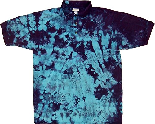 - Tie Dyed Shop Blue Purple Crinkle Golf Tie Dye Sport Collared Polo Style Shirt-Medium-Multicolor