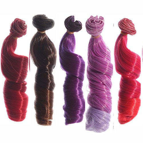 5pcs/lot,15x100cm Curly Heat Resistant Doll Hair Wefts for DIY Doll Wigs Different Colors for Choice (5pcs-023-04)