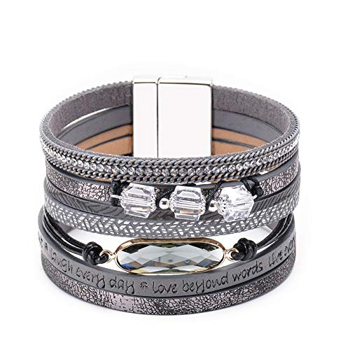 BRIGHT MOON Crystal Leather Wrap Bracelet Exquisite Handmade Braided Multilayer Magnetic Buckle Bohemian Cuff Bangle Bracelets for Women, Girls, Ladies