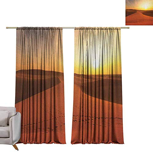 berrly Blackout Window Curtain Desert,Footprints on Sand Dunes at Sunrise Hot Dubai Landscape Travel Destination, Dark Orange Yellow W96 x L84 Room Darkening Wide Curtains (Furniture Garden Contemporary Dubai)