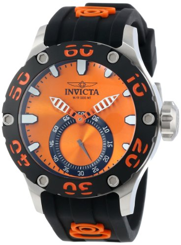 Invicta Men's 12704 Russian Diver Orange Dial Black Silicone Watch