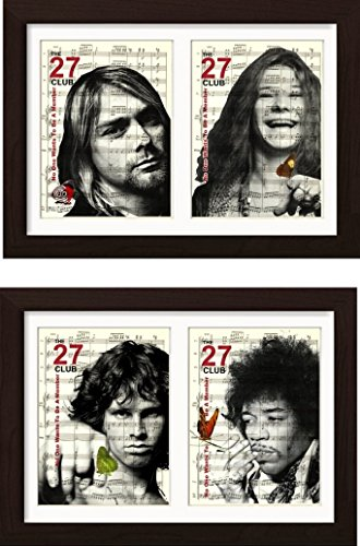 The 27 Club 4 Print Set Ready To Frame Mounted /Matted Sheet Music Art - Sets Vintage Music Sheet