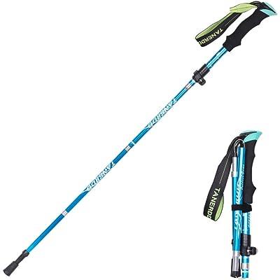 Baomasir Gehstock Bastón de trekking – Ultraligero, correa de muñeca ajustable, mango ergonómico de EVA que absorbe el sudor, fitness alpinismo senderismo excursiones, Azul Claro
