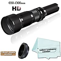 HD 650-1300mm F/8-F16 Telephoto Zoom Lens For NIKON D3200 D800 D7000 D5100 D3100 D3000 D5000 D3000 D90 D40 D40X D7100 + Micro-Fiber Cloth + T-Mount