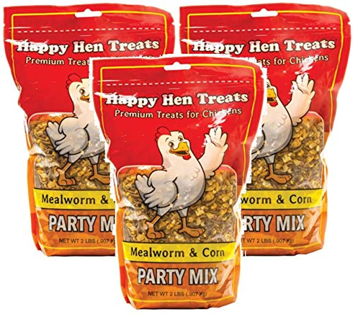 Happy Hen Treats Party Mix Mealworm and Corn, 2-Pound (Pack of 3)