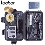 tiny fire starter kit - Outdoor Survival Kit,10 in 1 Professional Emergency Survival Kits Tools with Fire Starter Whistle Survival Flashlight Tactical Pen etc For Outdoor Travel Hike Field Camp