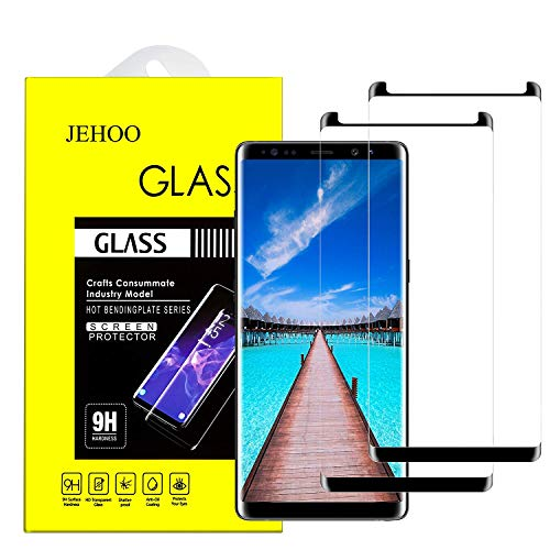 Galaxy Note 8 Screen Protector, JEHOO [2-Pack] Tempered Glass Screen Protector [9H Hardness][Anti-Scratch][Anti-Bubble][3D Curved] [High Definition] [Ultra Clear] Compatible with Samsung Galaxy Note 8