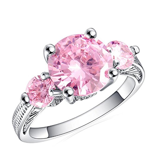(TEMEGO White Gold Round Cut CZ Pink Topaz 3-Stone Engagement Rings Vintage Edge for Women,Size 8)