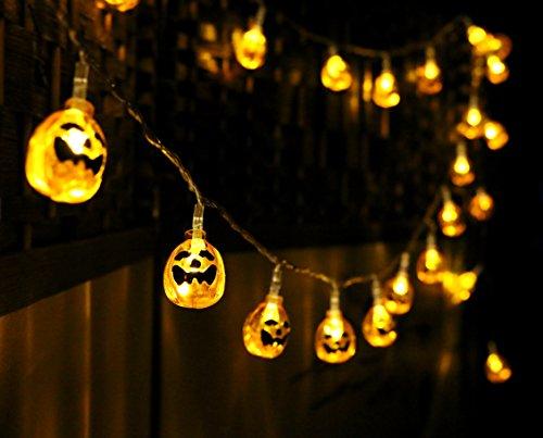 DESERT FOX 10ft 30 LED Pumpkin String Light,Halloween Horror Nights Decoration For Bedroom,Garden,Patio,Xmas Party(AA, Battery-powered)