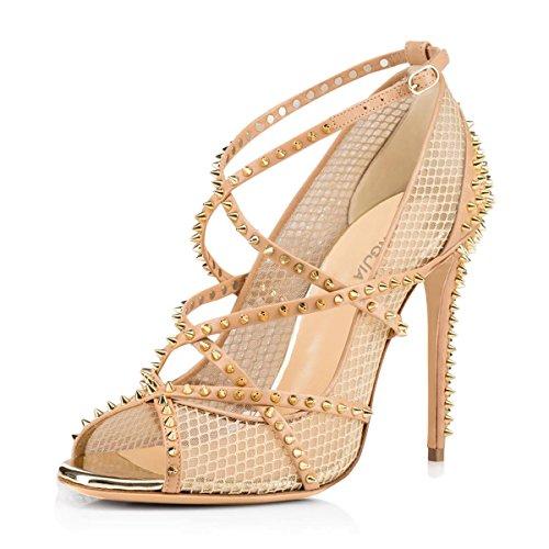 toe Sexy Nude Strappy Mesh Pumps Women's Amy High Court Spikes Shoes Q Ladies Studs Heel Peep 5wZYA7Yq
