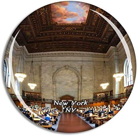 ニューヨーク公共図書館ニューヨーク米国冷蔵庫マグネット3Dクリスタルガラス観光都市旅行お土産コレクションギフト強い冷蔵庫ステッカー