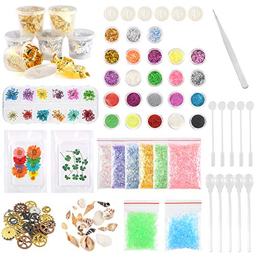Scoop Shell (Sntieecr 60 Pack Resin Jewelry Making Supplies Kit with Glitter, Sequins, Mylar Flakes, Dry Flowers, Beads, Wheel Gears, Foil, Shells, Glass Stone, Tweezer and Scoops for Nail Art and Craft Decoration)
