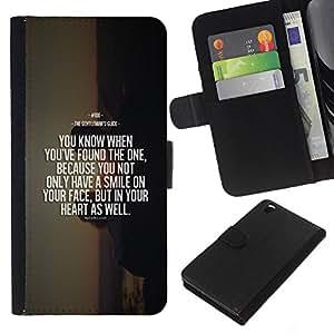 KLONGSHOP // Tirón de la caja Cartera de cuero con ranuras para tarjetas - sunset cita de motivación de la muerte - HTC DESIRE 816 //