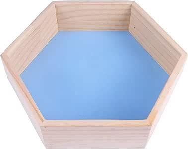 Vosarea Estantes de Madera hexagonales montados en la Pared Estante Flotante de Madera para la decoración de la Tienda de Ropa Infantil o de la habitación Infantil Tamaño L (Azul)