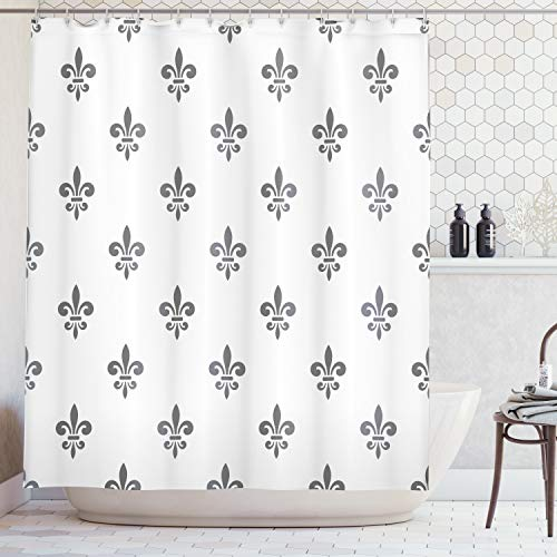Ambesonne Fleur De Lis Decor Collection, Fleur De Lis Royal Lily in Simple Old Decorating Style Ornate Antiquity Image, Polyester Fabric Bathroom Shower Curtain Set with Hooks, Grey White