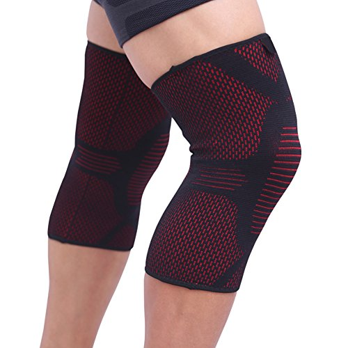 Ultra Flex Knee Braces/Sleeves(1 pair) Support for Running, Athletics, Jogging, Joint Pain Relief, Arthritis and Injury Recovery, Patella Protection Weightlifting Gym Both Men & Women L-Red ()