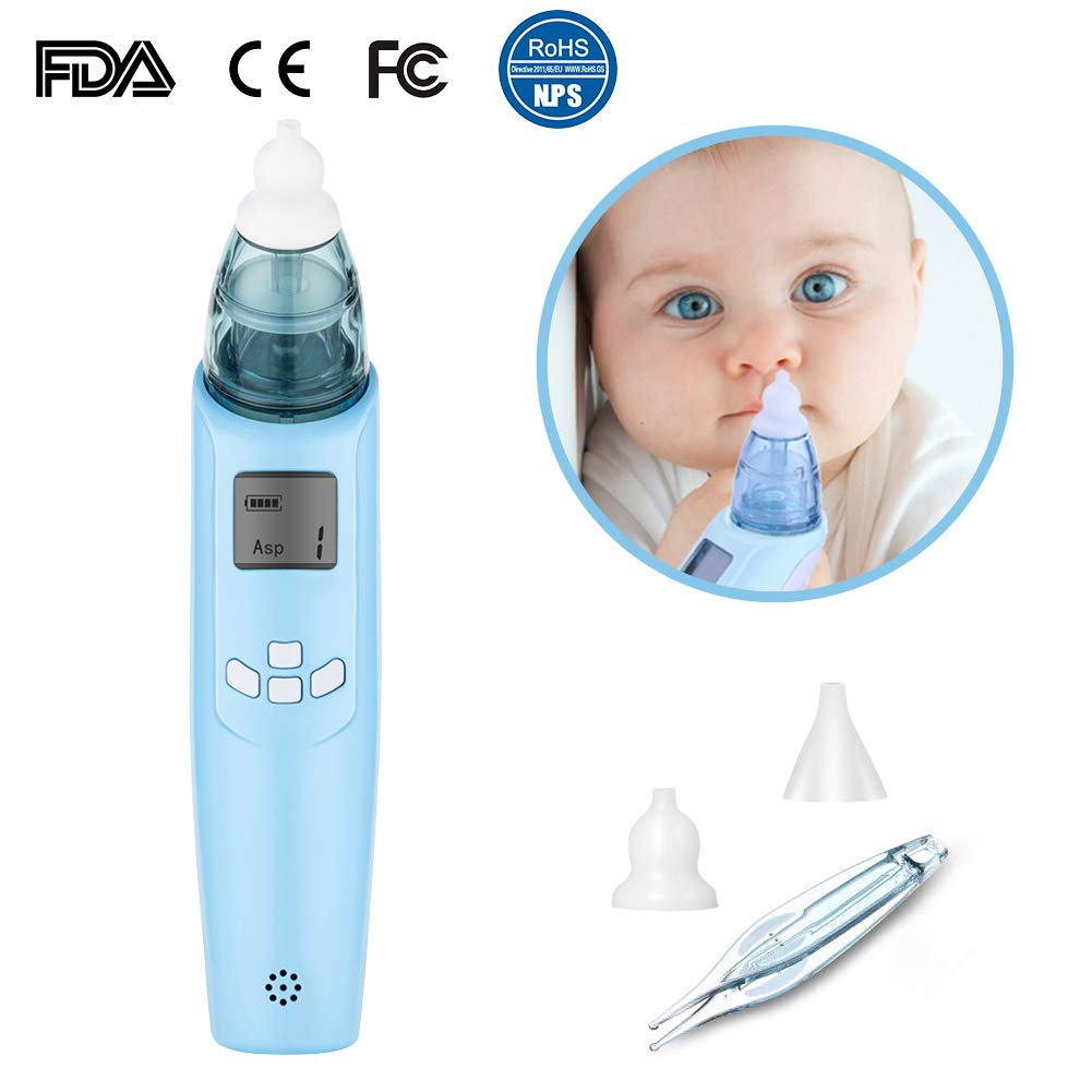 Electric Baby Nasal Aspirator - Safe Hygienic FDA Approval Battery Operated Nose Cleaner - 3 Strength Suction, 2 Size of Soft Nose Tips, LCD Screen,Flashing,Music, Nasal Tweezers for Newborns Toddlers by Luismia