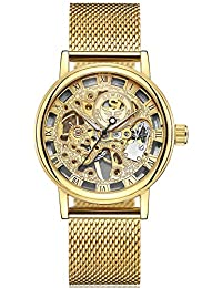 Men's Mechanical Skeleton Transparent Vintage Style Leather Wrist Watch (Gold)