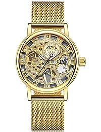 Men's Mechanical Skeleton Transparent Vintage Style Leather Wrist Watch (Gold)