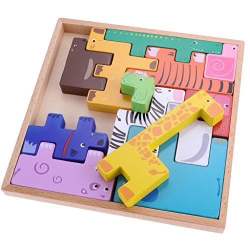 [해외]Blesiya 유아 아기 인지 장난감 동물 블록 퍼즐 모양 맞추기 집 짓기 놀이교육 완구 / Blesiya Toddler Baby Cognitive Toy Animal Block Jigsaw Puzzle Shape Matching Stacks Educational Toys