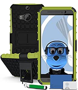 iTALKonline HTC One M9+ M9 Plus Green Black Tough Hard Shock Proof Rugged Heavy Duty Case Cover with Viewing Stand with LCD Screen Protector and Headphone mount 3.5mm Retractable Mini Stylus Pen