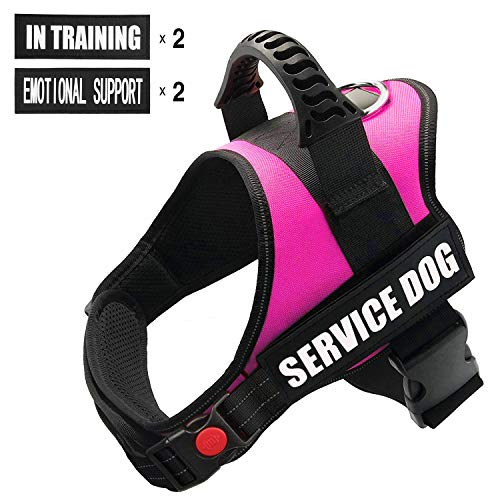 FAYOGOO Dog Vest Harness for Service Dogs, Comfortable Padded Dog Training Vest with Reflective Patches and Handle for Large Medium Small Dogs (M: Chest 24-32' Neck 20-26', Pink)