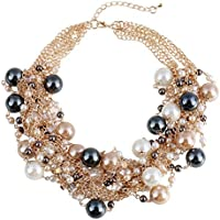 WellieSTR Elegant Faux Pearl Crystal Cluster Collar Chunky Bib Necklace Gold Tone For Women - clothing accessories