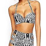 Souleader Women's Halter Geometric Print High Waisted Swimsuit Bathing Suits Bikini (Medium)
