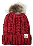 H-1820kids-42 Fuzzy Lined Pom Hat - Red
