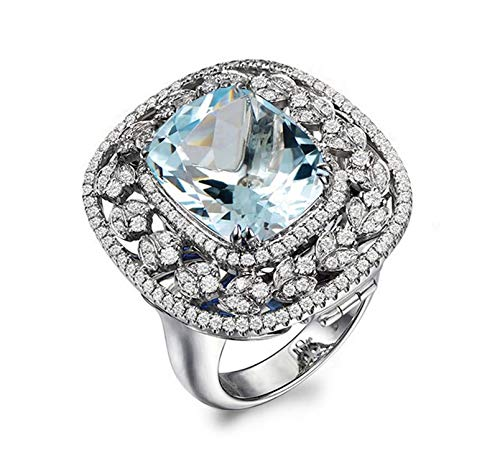 Aokarry - S925 Silver Sterling Womens Silver Wedding Rings Blue Created-Topaz December Birthstone Size -