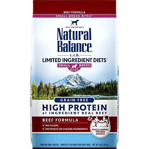Natural Balance Limited Ingredient Diets High Protein Dry Dog Food, Beef Formula, Small Breed Bites, Grain Free, 4-Pound