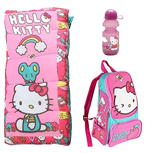 (Disney Hello Kitty Sleeping Bag, Oxford Backpack, Water Bottle 3 Piece Camping Set)