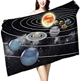 UHOO2018 Bath Towel Solar System with Eight Planets Bathroom Towels W 27.5'' x L 55''