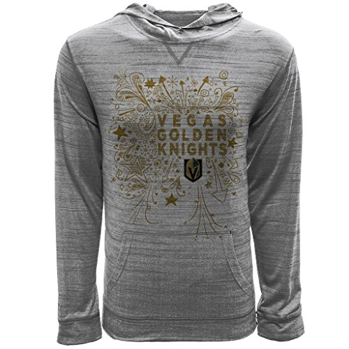 NHL Vegas Golden Knights Youth Unisex Jr Anchor Hoody Scribbled Long sleeve Hooded Tee, Ym, Heather Pebble