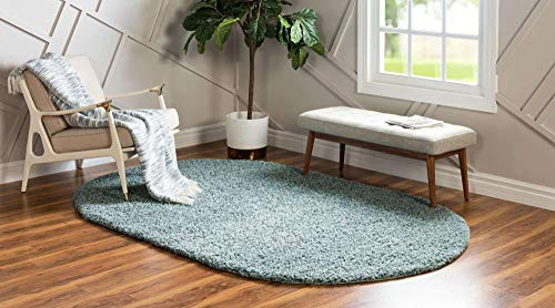Unique Loom Solo Solid Shag Collection Modern Area Rug_SHG001, 8' x 10' Oval, Slate Blue