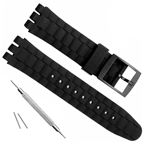 21mm Replacement Waterproof Silicone Rubber Watch Strap Watch Band (Black)