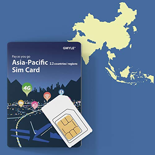 GMYLE China, Korea, Thailand, India etc. Prepaid SIM Card, 5GB 14 Days Asia Pacific 12 Countries 4G LTE 3G Travel Data, Top up Anytime and Anywhere