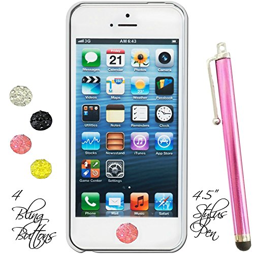 Rhinestone Home Buttons stickers Set of Four Plus Stylus Pen Fits Apple Ipad Mini Iphone 3g 4g 5g 6 Ipad Air Ipod Touch (Blush Pink)