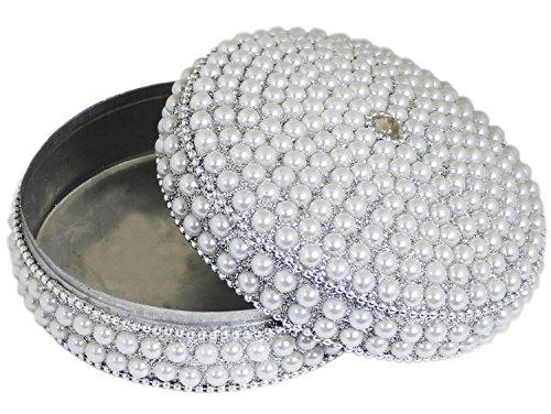 SKAVIJ Handmade Indian Jewelry Gift Box Handmade Round Metal and Beaded Decorative Diameter 4 Inch (White, Diameter - 4 Inch) by SKAVIJ (Image #2)
