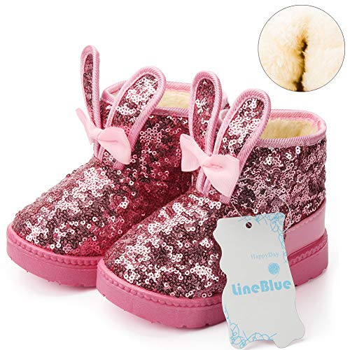 Blue Line Girls Boots, Bunny Kid Boots Warm Winter Sequin Waterpoof Outdoor Snow Boots (Toddler/Little Kids) DTX04,Pink,27