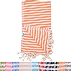 Orange Striped Turkish Towel 100% Cotton for Beach Bath Swimming Pool Yoga Pilates Picnic Blanket Scarf Wrap Turkish Bath Beach Towel Peshtemal Hammam Fouta