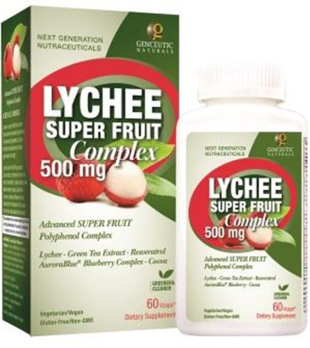 Genceutic Naturals Lychee fruit super complexes suppléments à base de plantes, 500 mg, 60 Count