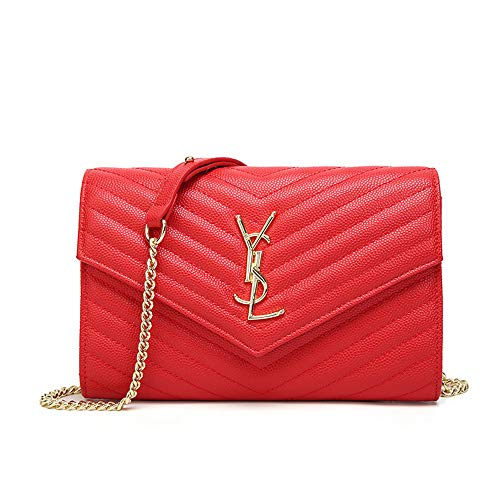 (Luxury Handbags Quilted purse Clutch Bags for Women Crossbody Bag with Chain Small Leather purse)