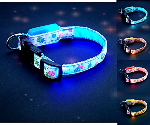 FONPOO FP3600 Safety LED Dog Collar Glowing Pet Cat Dog Collar for Night Safety 5 Color Fashion Lollipops Print light collar with Water Resistant Flashing Light for Small Medium Cats (London Halloween Stores)