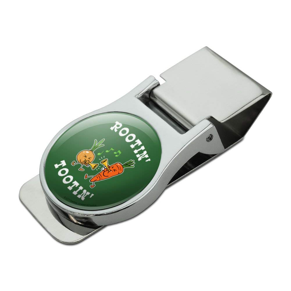 Rootin Tootin Root Vegetables Funny Humor Satin Chrome Plated Metal Money Clip