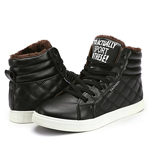Odema Mens Pu Leather Warm Snow Boots Stringate Hightop Sneakers Blackfur