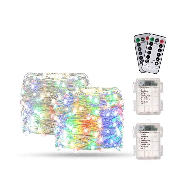Catene Luminose, BAKTH Stringa Luci LED Impermeabile IP67 per interni/esterni/Natale/Matrimonio e camera da letto 8 Modalità(2 x 10M 100LED,Multicolore) 1 spesavip